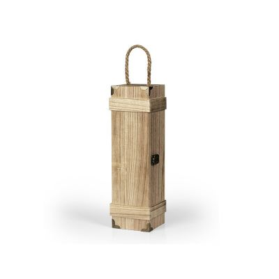 BAROQUE, wooden single bottle gift box, beige